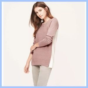 LOFT M Colorblock Textural Tunic Sweater